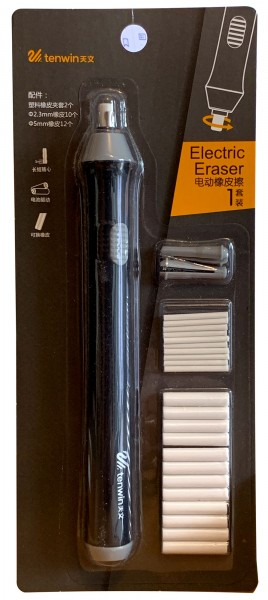Electric eraser with 2 tip widths